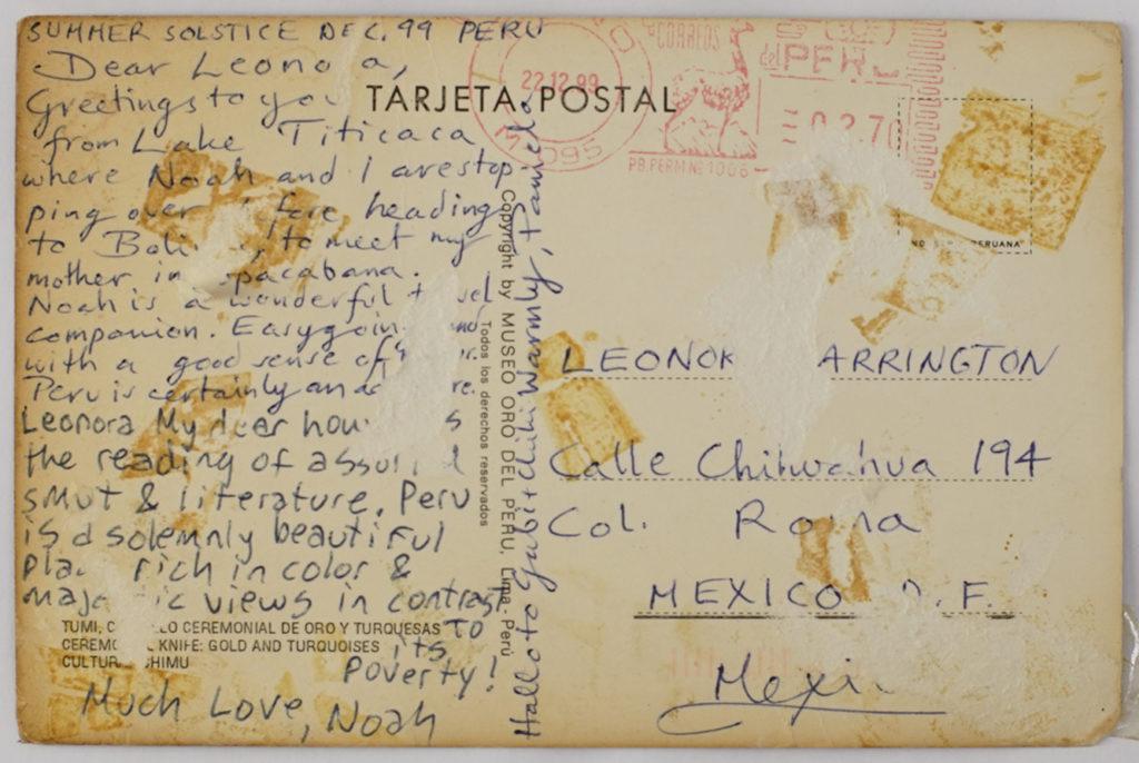 Postal enviada a Leonora