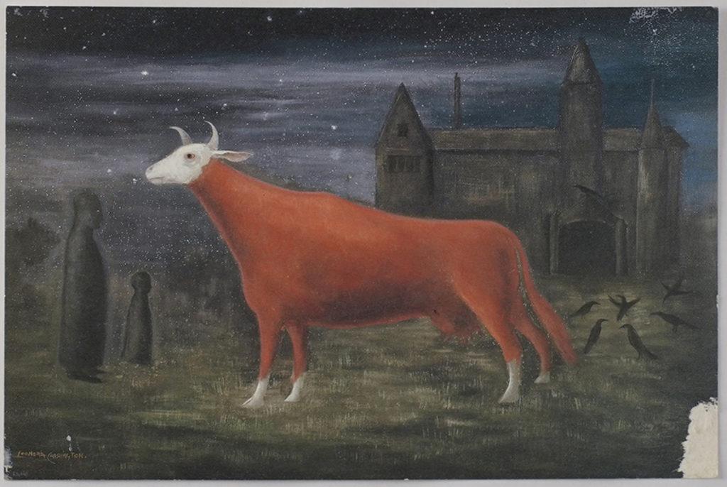 Postal enviada a Leonora con la inscripción 'Vaca roja'