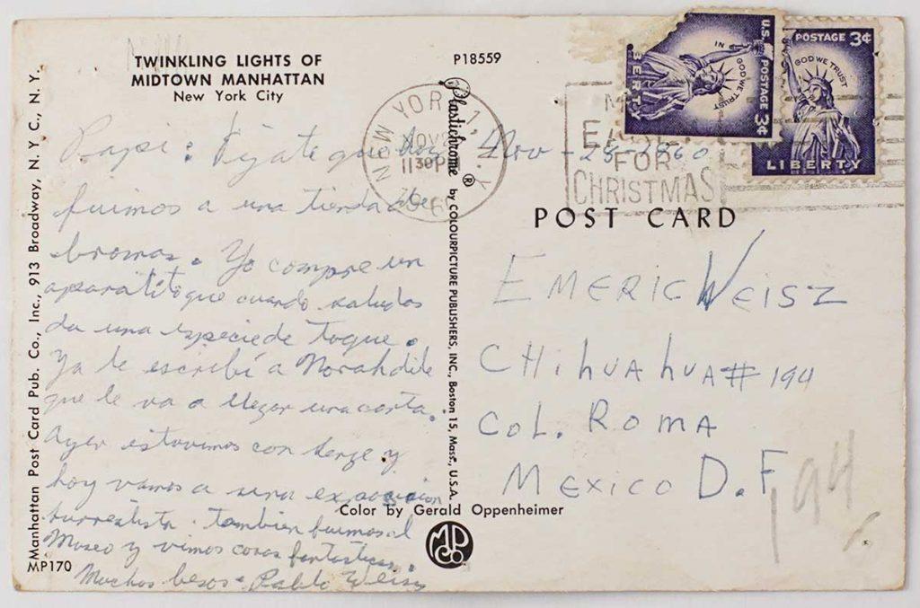 Postal para Emérico, mandada en los años 60´s desde Nueva York por su hijo Pablo